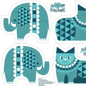 elephant kitty blue