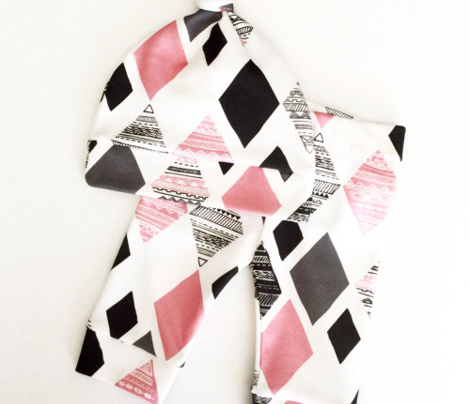 Aztec winter pink geometric prism diamond fabric