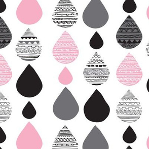 Cute pink girls aztec drop geometric abstract illustration fabric