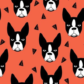 boston terriers // boston terrier dog breed dogs dog breed fabric cute coral dogs