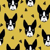 boston terrier // mustard yellow boston terriers dog fabric cute hand-drawn dog design
