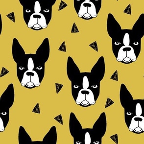 boston terrier // mustard yellow boston terriers dog fabric cute hand-drawn dog design