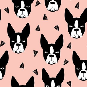 boston terrier // boston terriers pink dog dog breed fabric cute hand-drawn illustration