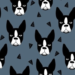 boston terriers // boston terrier dog breed blue grey kids cute dog faces dog head dogs fabric