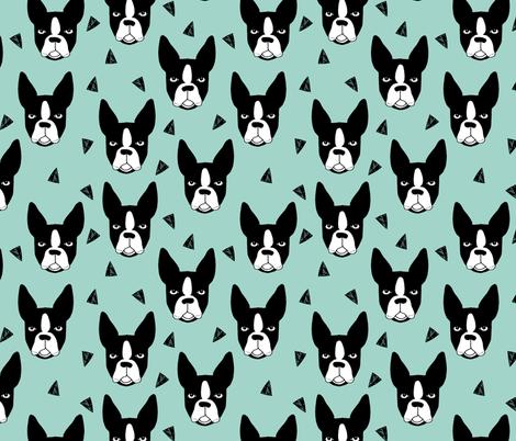 boston terrier // mint boston terriers cute dog best dog fabric fabric by andrea_lauren on Spoonflower - custom fabric