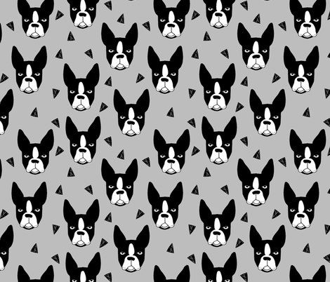 boston terrier // grey boston terrier dog cute pet dog breed fabric fabric by andrea_lauren on Spoonflower - custom fabric