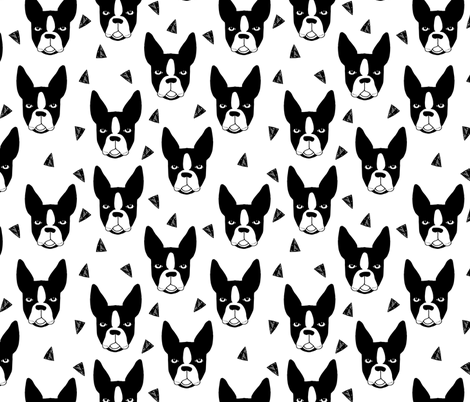 boston terrier // boston terrier dog black and white illustration fabric by andrea_lauren on Spoonflower - custom fabric
