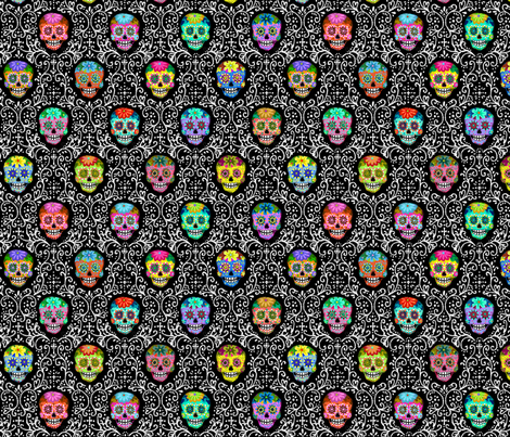 Bright Calaveras Damask fabric by kirsten_sevig on Spoonflower - custom fabric