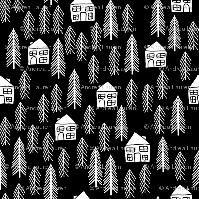 Cabin forest trees black and white kids outdoors for Black and white childrens fabric