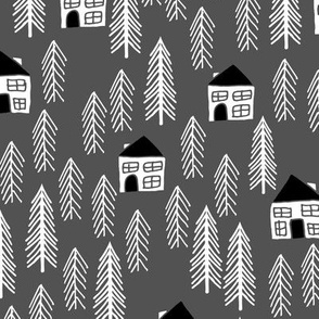 cabin // forest trees fir tree charcoal forest house