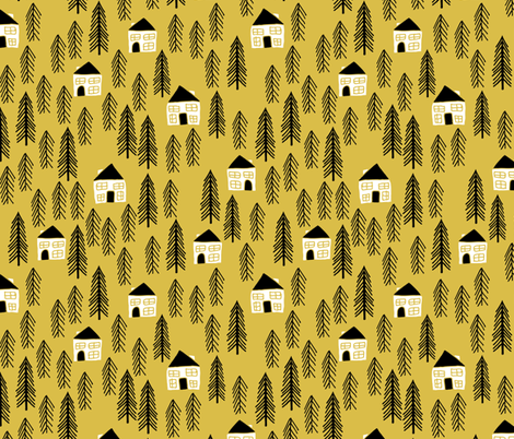 cabin // forest trees woodland mustard outdoors camping fabric by andrea_lauren on Spoonflower - custom fabric