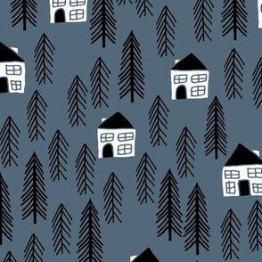 cabin // forest trees blue kids nursery baby outdoors
