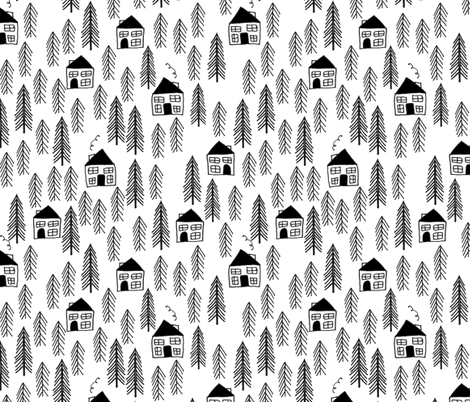 Cabin forest trees black and white kids forest woodland for Black and white childrens fabric
