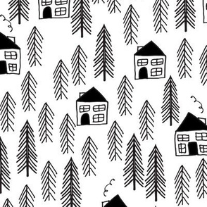 cabin // forest trees black and white kids forest woodland camping outdoors