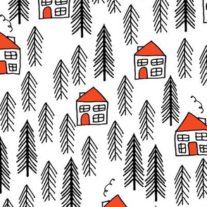 cabin // forest fir tree forest trees black and white cute cabin
