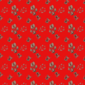 Muddy paw prints - red
