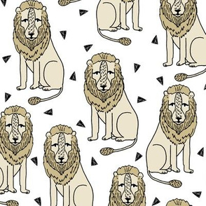 lion // lions safari zoo kids nursery baby light cream off-white