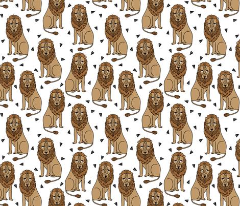 lion // safari lion zoo brown kids simple animal fabric by andrea_lauren on Spoonflower - custom fabric