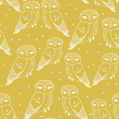 owls // mustard hand-drawn bird illustration by Andrea Lauren