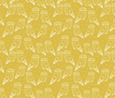 owls // mustard hand-drawn bird illustration by Andrea Lauren fabric by andrea_lauren on Spoonflower - custom fabric