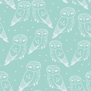 owl fabric // mint and white pastel nursery baby bird design