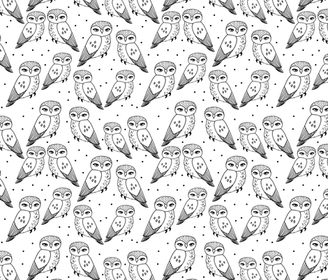 Owls Black And White Owls Hand Drawn Simple Owl Design By Andrea