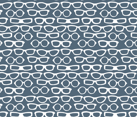 Glasses - Payne's Grey by Andrea Lauren  fabric by andrea_lauren on Spoonflower - custom fabric