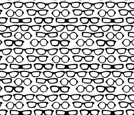 Glasses - White and Black by Andrea Lauren  fabric by andrea_lauren on Spoonflower - custom fabric