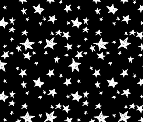 Stars black and white star fabric nursery baby scandi for Star design fabric
