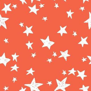stars // coral orange star fabric by andrea lauren design
