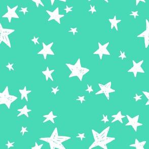 stars // light jade star fabric bright neon green design baby fabric