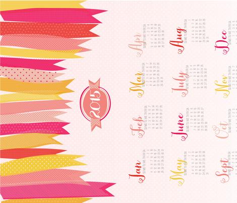 Raining Ribbons 2015 Tea Towel Calendar fabric by emilyannstudio on Spoonflower - custom fabric