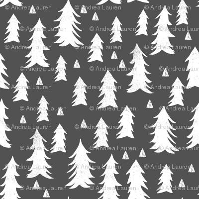 tree // trees forest trees charcoal sweet trees grey kids nursery baby