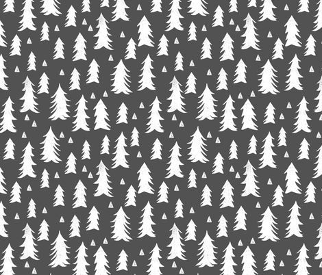 tree // trees forest trees charcoal sweet trees grey kids nursery baby fabric by andrea_lauren on Spoonflower - custom fabric
