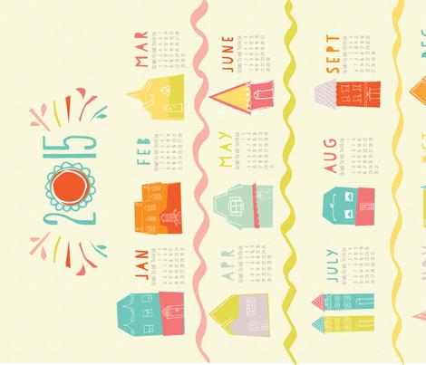 Happy Neighborhood 2015 Tea Towel Calendar fabric by emilyannstudio on Spoonflower - custom fabric