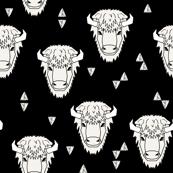 Buffalo Head - B&W by Andrea Lauren