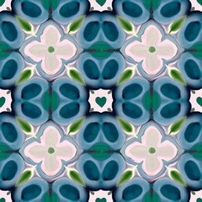 White Flowers on Blue Pattern