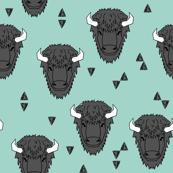 Buffalo Head - Pale Turquoise by Andrea Lauren