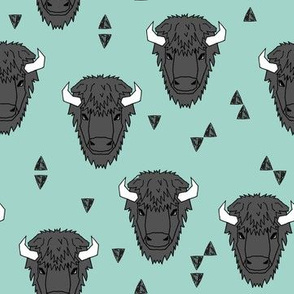 Buffalo Head - Pale Turquoise by Andrea Lauren