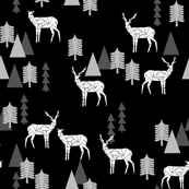 Geo Forest Deer - Black and White by Andrea Lauren