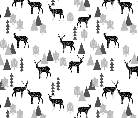 Geo Forest Deer - White and Black by Andrea Lauren  fabric by andrea_lauren on Spoonflower - custom fabric