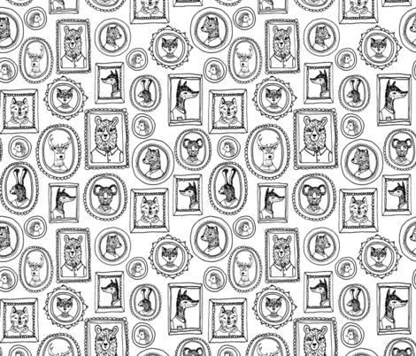 Animal Portraits - Black & White by Andrea Lauren fabric by andrea_lauren on Spoonflower - custom fabric