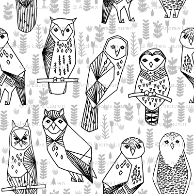 owl // black and white geometric hand-drawn illustration by Andrea Lauren