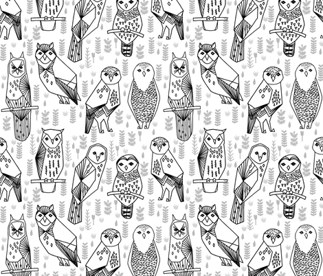owl // black and white geometric hand-drawn illustration by Andrea Lauren fabric by andrea_lauren on Spoonflower - custom fabric