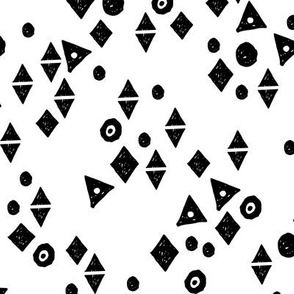 Black & White Shapes - White background by Andrea Lauren