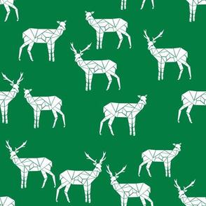 deer // christmas green deer fabric geometric deer simple deer fabric