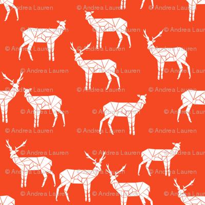 deer // bright red christmas deer doe andrea lauren fabric