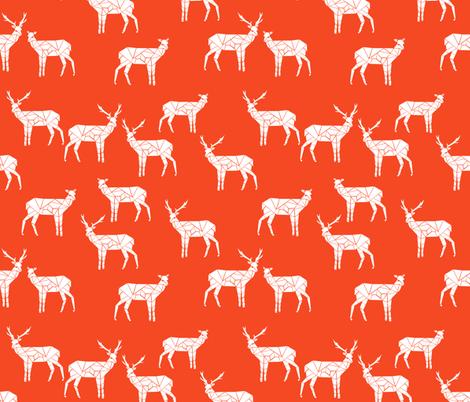 deer // bright red christmas deer doe andrea lauren fabric fabric by andrea_lauren on Spoonflower - custom fabric