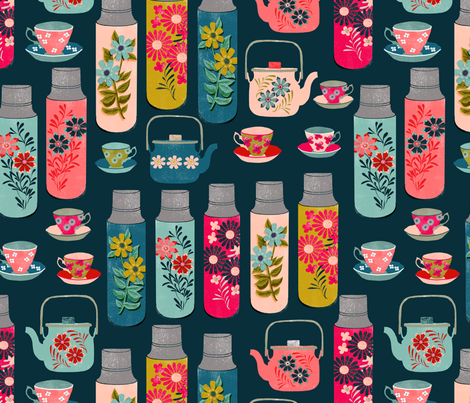 tea thermos // vintage tea florals tea party cute thermos design fabric by andrea_lauren on Spoonflower - custom fabric