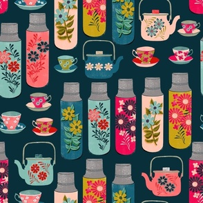 tea thermos // vintage tea florals tea party cute thermos design